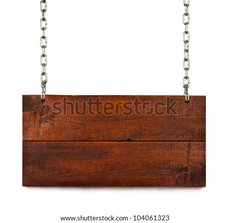 vintage blank wood sign board on chains with space for text isolated on white