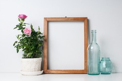 Vintage blank wooden frame, bottles and rose in a pot on a white wall