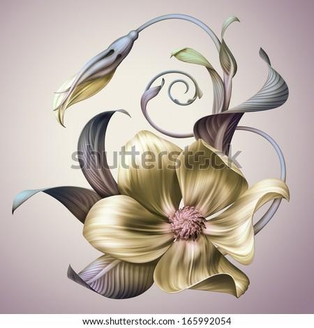 vintage blooming flower illustration