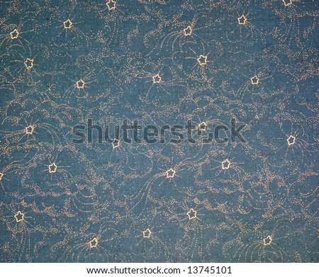 Vintage Blue and Gold Star Pattern