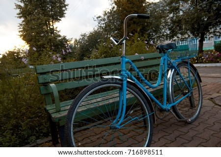 vintage blue bike with basket ...