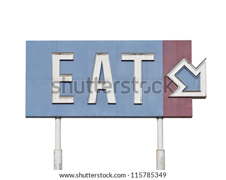 Vintage blue eat arrow sign near historic route 66.