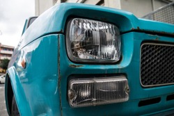 Vintage blue italian car detail close up