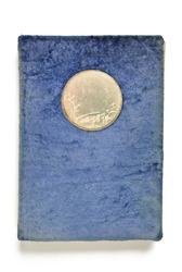 Vintage blue photo album isolated on white
