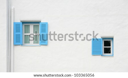 Vintage blue windows on the wall