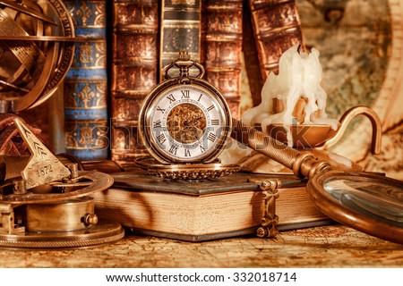 vintage book  compass ...