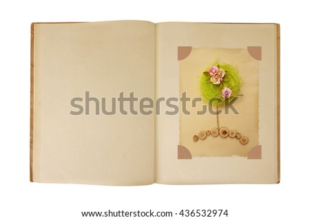 vintage book open with flower...