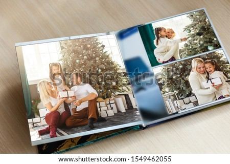 vintage book or photo album with empty photo frames, photo corners, free copy space Сток-фото ©