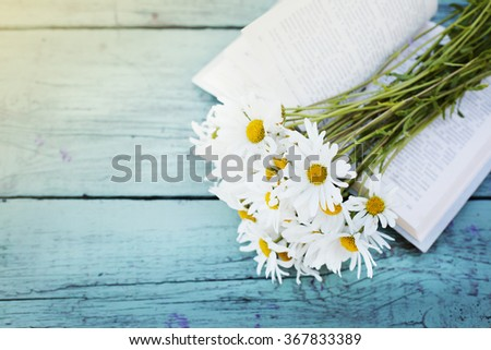 Vintage book with bouquet of daisy flowers against nature background/ summer garden background