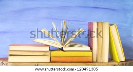 vintage books arrangement, education or knowledge concept