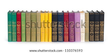 vintage books in a row, isolated on white background, clipping path, empty labels with free copy space