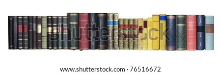 vintage books in a row, isolated on white background, empty labels with free copy space