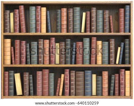 Vintage books on bookshelf isolated on white background. Education library book store concept. 3d & Find free bookshelf images stock photos and illustration collections