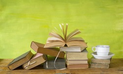 vintage books with a coffee cup, free copy space