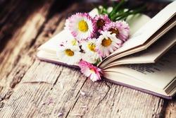 Vintage books with bouquet of flowers/ nostalgic vintage background