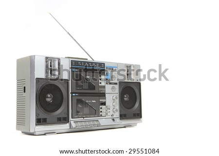 Vintage Boom Box Cassette Tape Player Isolated on White Background