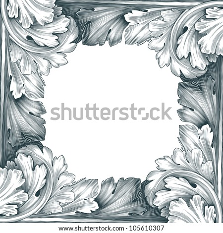 vintage border frame engraving with retro ornament pattern in antique rococo style decorative design isolated on white background