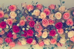 Vintage Bouquet of  Roses for wedding, soft focus effect