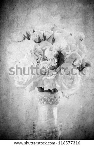 Vintage bouquet of roses in black and white - stock photo