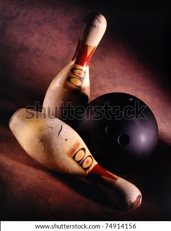 VINTAGE Bowling ball and two pins very shallow depth of field
