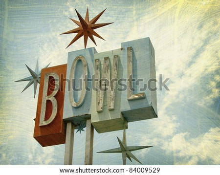 vintage bowling sign