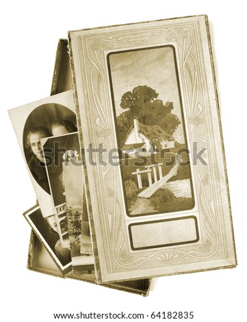 Vintage box with photos, isolated on white background