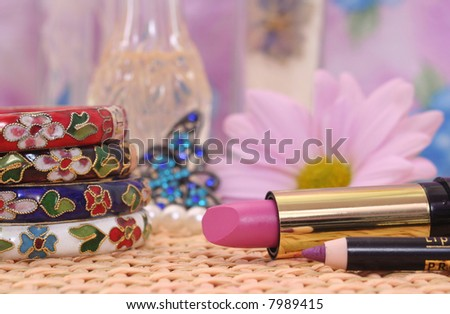 Vintage Bracelets with Lipstick and Flower, Shallow DOF