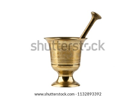 Vintage brass mortar with pestle isolated on white background #1132893392