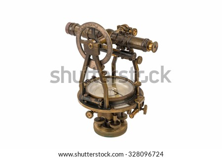 Vintage Brass Surveying Level (Transit, Theodolite) with Compass and natural aged Brass Patina, focus stacked and isolated on white background.