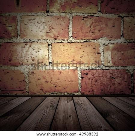 vintage brick and wooden interior - stock photo