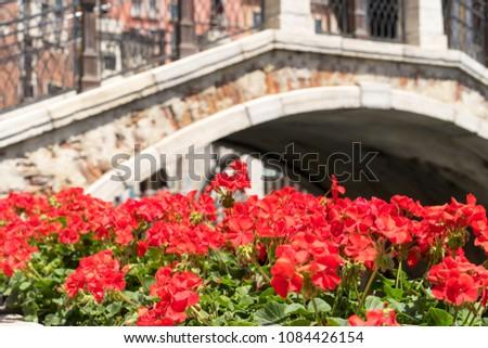 vintage brick bridge and red...