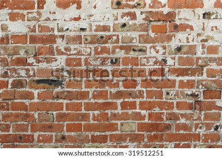 Vintage Brick Rough Rustic Wall With Damaged Plaster