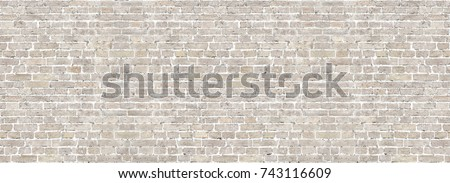 Vintage brick wall panoramic background texture. Home and office design backdrop #743116609