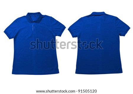 Vintage Bright Blue.color Polo Shirt with white background Men Front and back Polo Shirt