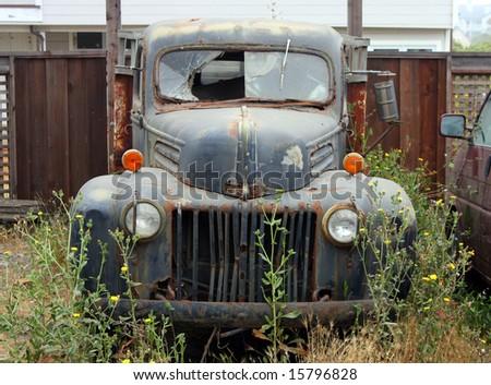 vintage broken down car