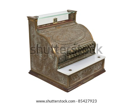 Vintage bronze cash register isolated on white.