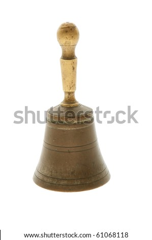 vintage bronze hand  bell isolated on white
