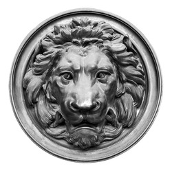 Vintage bronze lion head in black and white isolated on white background