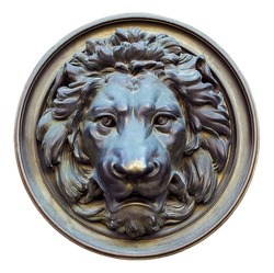 Vintage bronze lion head isolated on white