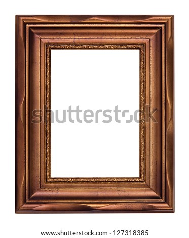 Vintage bronze picture frame isolated over white (clipping path included)