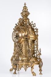 vintage bronze watch, bronze fireplace clock, golden old desktop clock, vintage bronze clock side photo, antique clock studio photo, old bronze ticker in gilding
