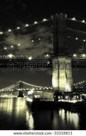Vintage Brooklyn Bridge at night