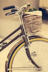 Vintage Brown Bicycle with Basket