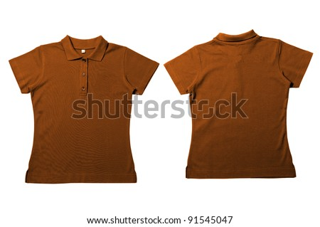 Vintage  brown Female color Polo Shirt with white background Men Front and back Polo Shirt