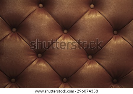 Vintage brown leather Sofa Button for textured background