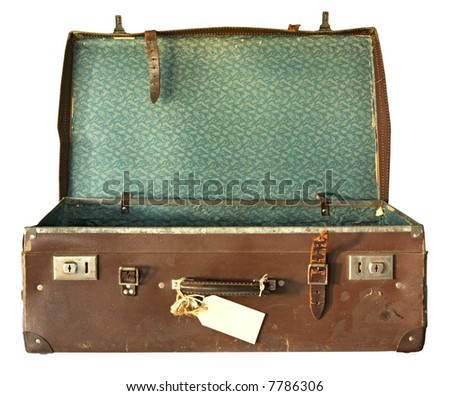 Vintage brown leather suitcase, open.