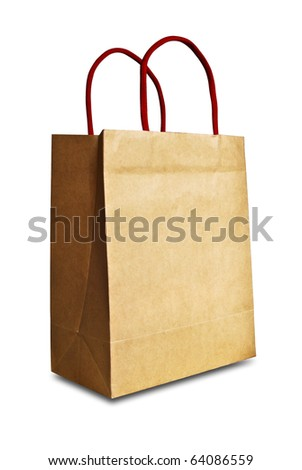 vintage brown recycle paper shopping bag crumpled isolated on white background