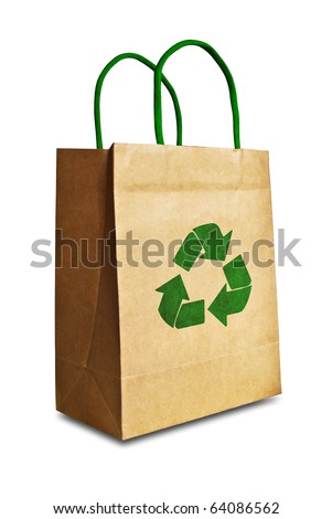 vintage brown recycle paper shopping bag crumpled with green recycle symbol isolated on white background