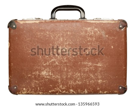 Vintage brown suitcase isolated on white background Stock photo ©