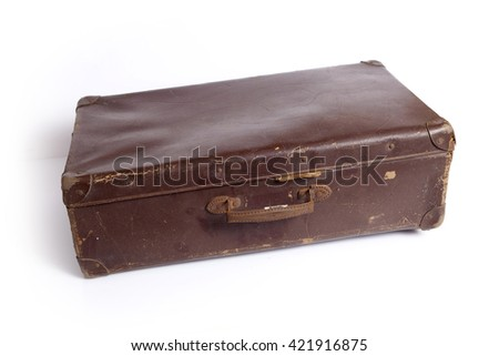 vintage brown suitcase isolated ...